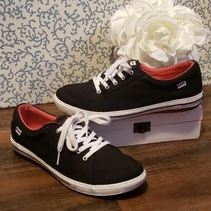 KEDS CENTER BLACK CANVAS LACE UP SNEAKERS